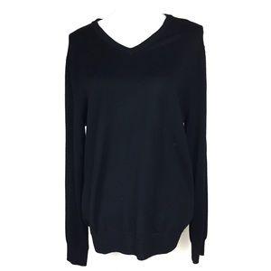 j crew men's merino wool v neck sweater black m